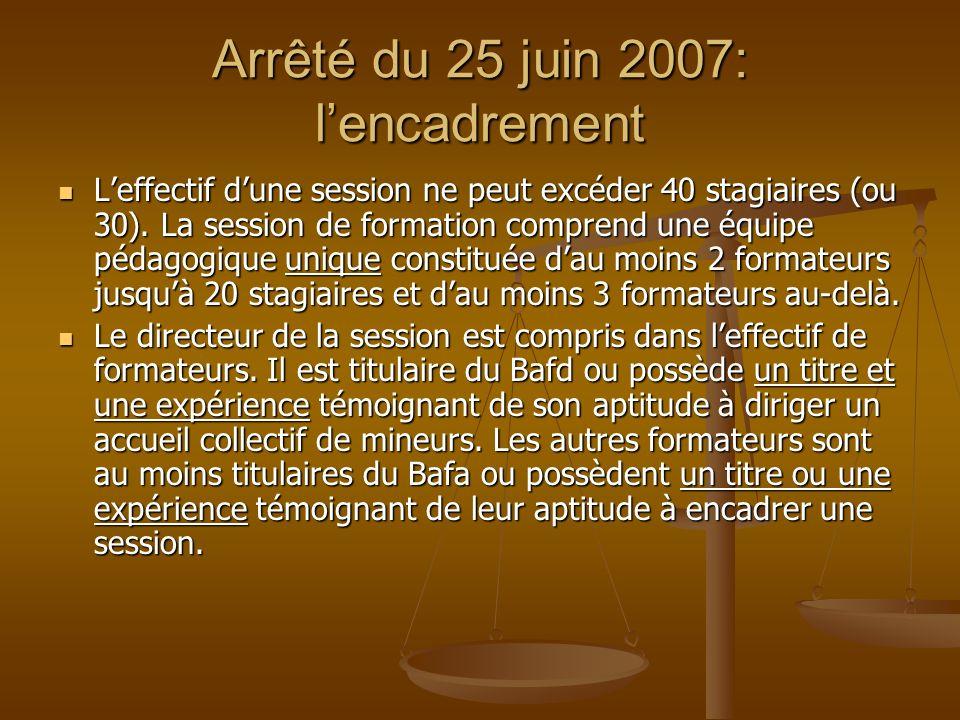Arrêté du 25 juin 2007: lencadrement Leffectif dune session ne peut excéder 40 stagiaires (ou 30). La session de formation comprend une équipe pédagog