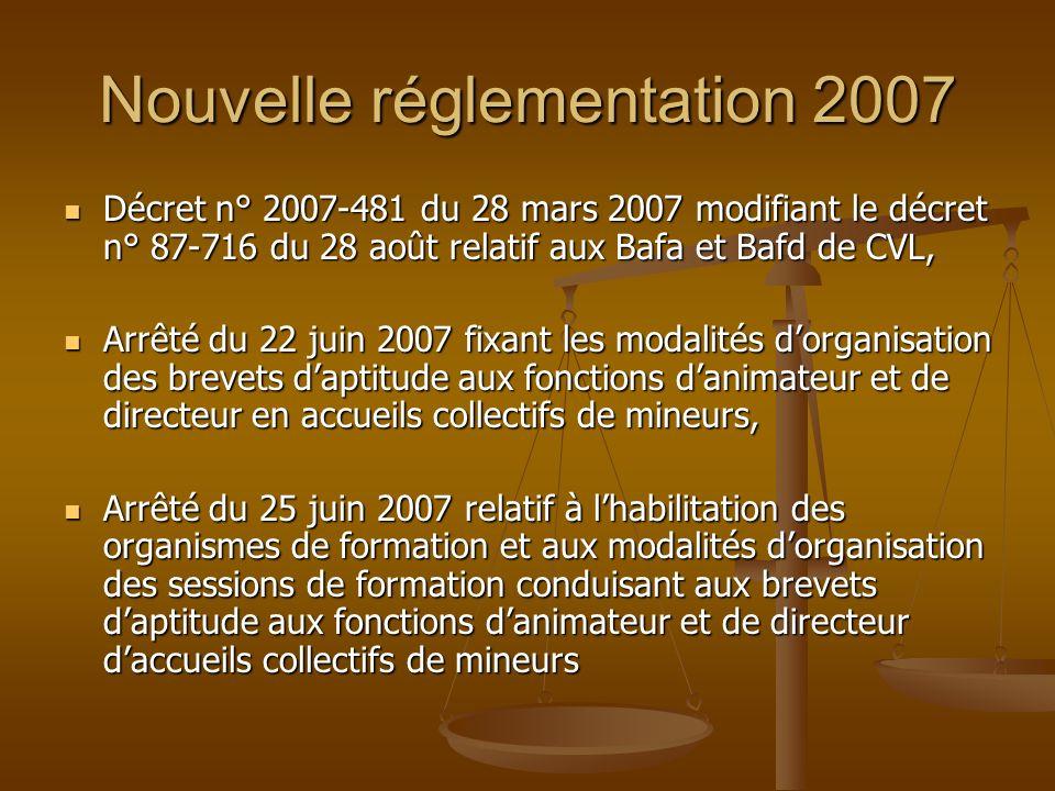 Nouvelle réglementation 2007 Décret n° 2007-481 du 28 mars 2007 modifiant le décret n° 87-716 du 28 août relatif aux Bafa et Bafd de CVL, Décret n° 20