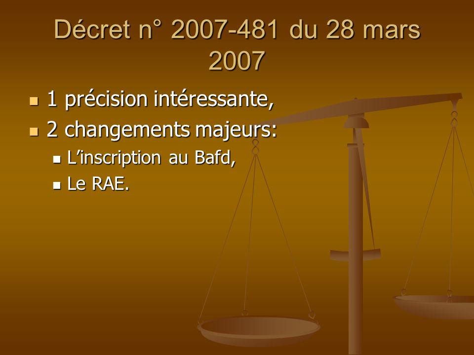 Décret n° 2007-481 du 28 mars 2007 1 précision intéressante, 1 précision intéressante, 2 changements majeurs: 2 changements majeurs: Linscription au B