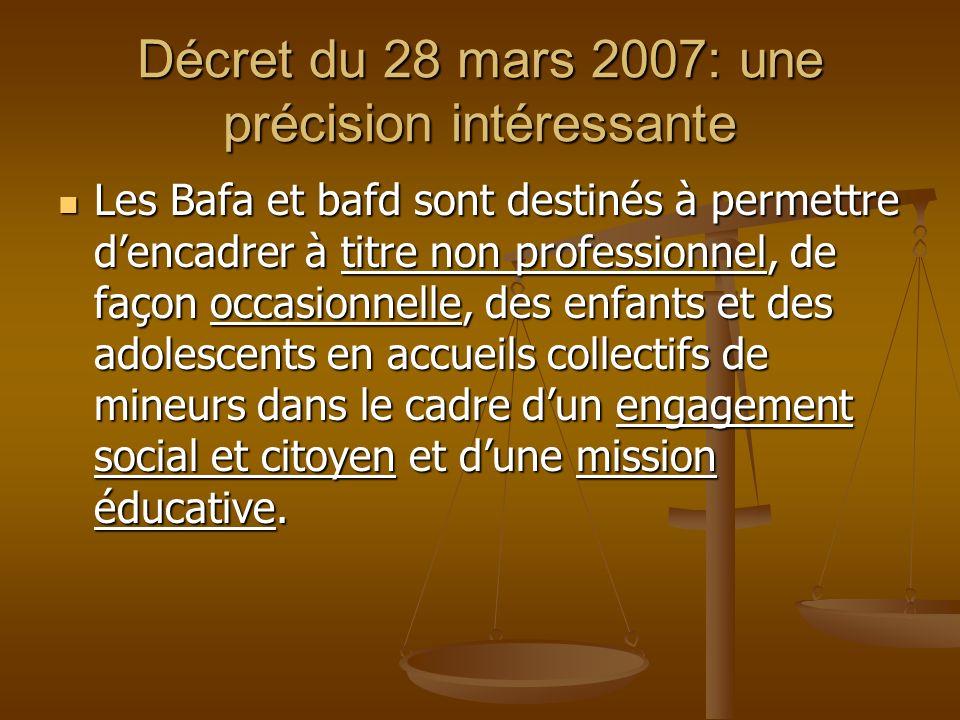 Décret du 28 mars 2007: une précision intéressante Les Bafa et bafd sont destinés à permettre dencadrer à titre non professionnel, de façon occasionne