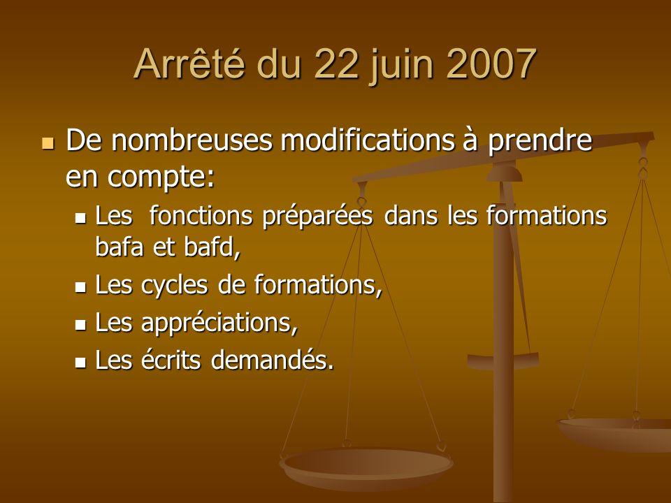 Arrêté du 22 juin 2007 De nombreuses modifications à prendre en compte: De nombreuses modifications à prendre en compte: Les fonctions préparées dans