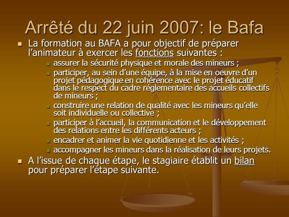 Arrêté du 22 juin 2007: le Bafa La formation au BAFA a pour objectif de préparer lanimateur à exercer les fonctions suivantes : La formation au BAFA a