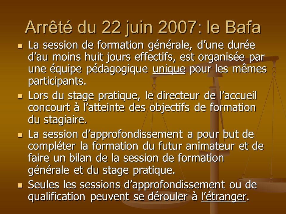 Arrêté du 22 juin 2007: le Bafa La session de formation générale, dune durée dau moins huit jours effectifs, est organisée par une équipe pédagogique
