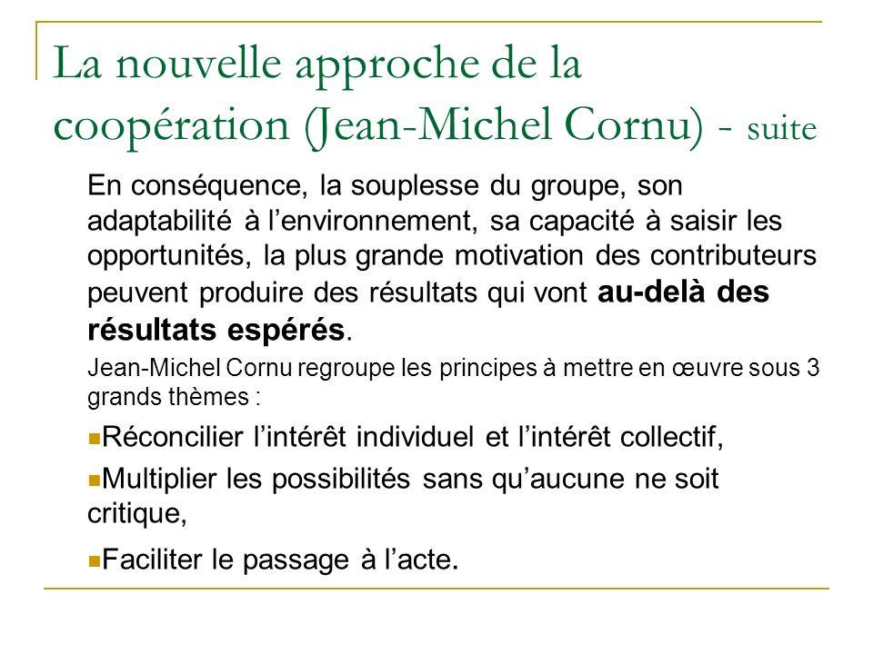 La nouvelle approche de la coopération (Jean-Michel Cornu) - suite En conséquence, la souplesse du groupe, son adaptabilité à lenvironnement, sa capac