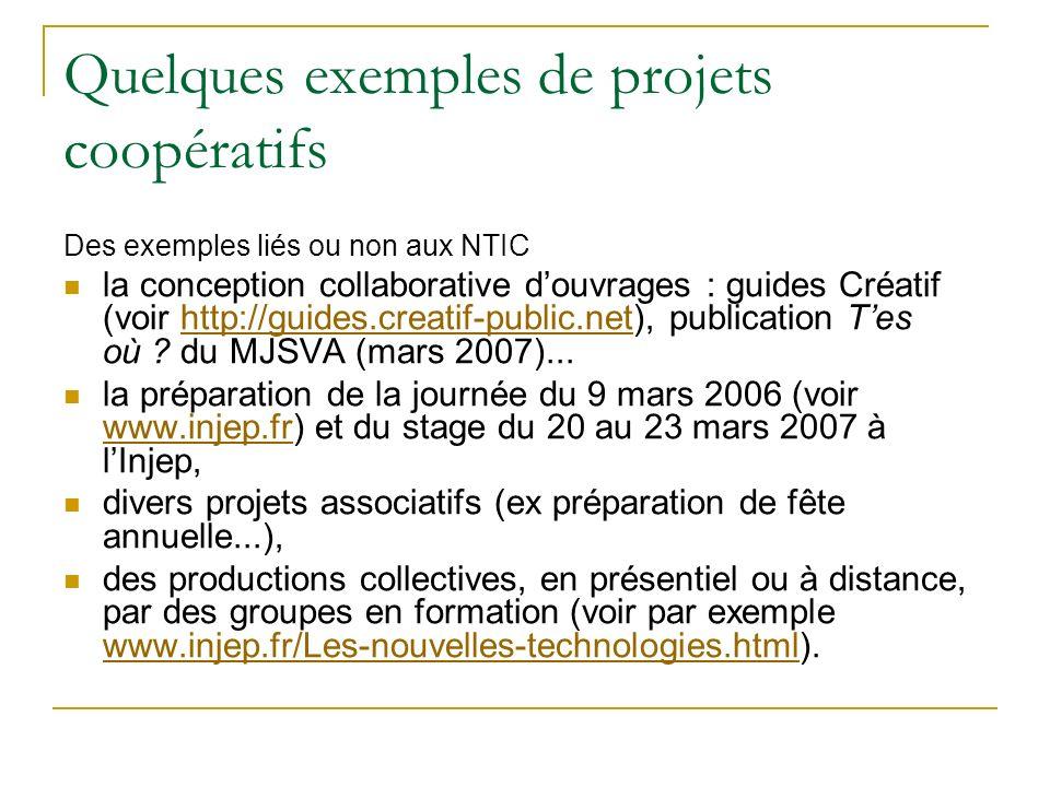 Quelques exemples de projets coopératifs Des exemples liés ou non aux NTIC la conception collaborative douvrages : guides Créatif (voir http://guides.