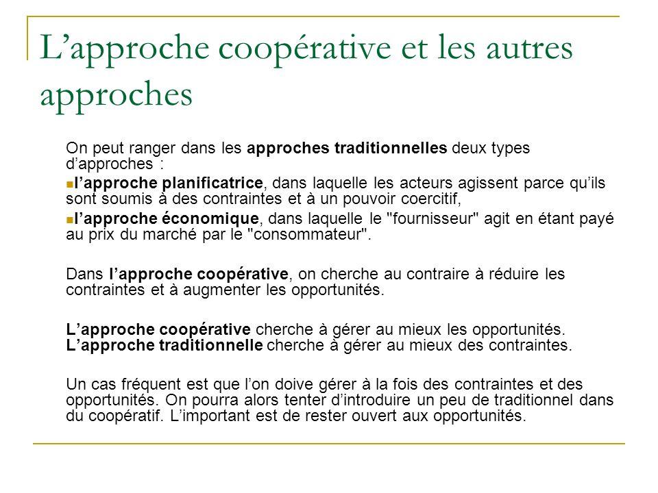 Lapproche coopérative et les autres approches On peut ranger dans les approches traditionnelles deux types dapproches : lapproche planificatrice, dans