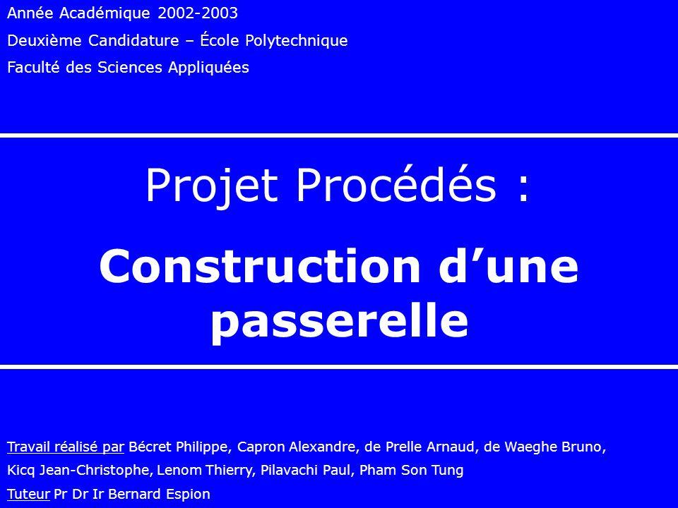 Année Académique 2002-2003 Deuxième Candidature – École Polytechnique Faculté des Sciences Appliquées Projet Procédés : Construction dune passerelle T