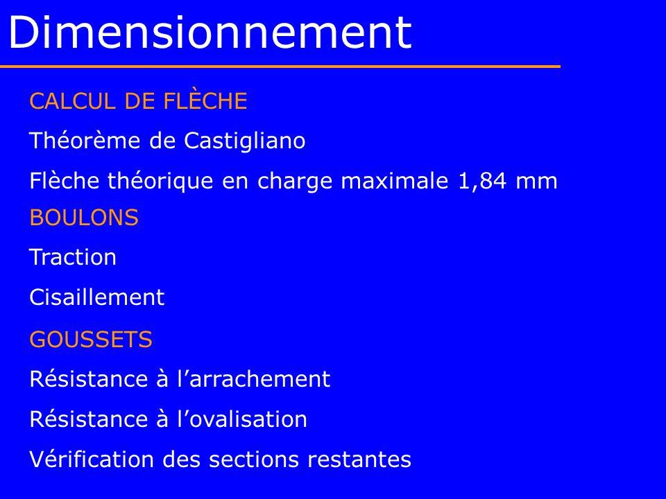 Dimensionnement CALCUL DE FLÈCHE Théorème de Castigliano Flèche théorique en charge maximale 1,84 mm GOUSSETS Résistance à larrachement Résistance à l