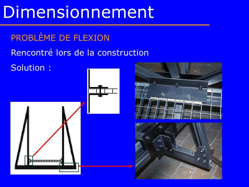 Dimensionnement PROBLÈME DE FLEXION Rencontré lors de la construction Solution :