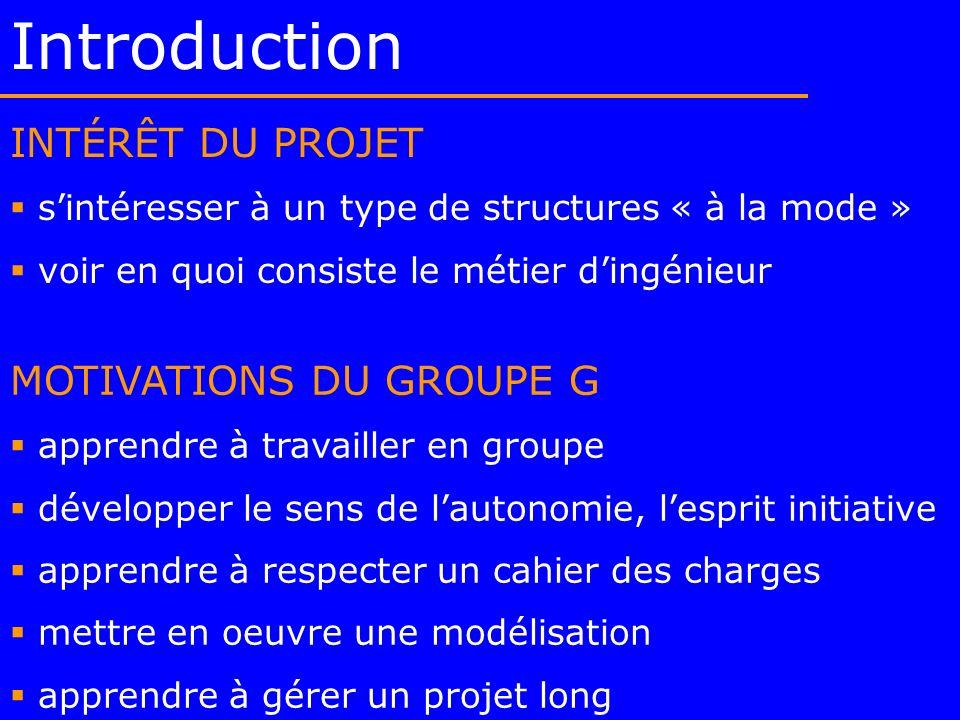 Introduction INTÉRÊT DU PROJET sintéresser à un type de structures « à la mode » voir en quoi consiste le métier dingénieur MOTIVATIONS DU GROUPE G ap