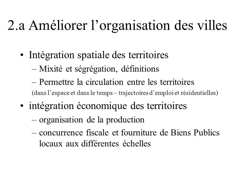 2.a Améliorer lorganisation des villes Intégration spatiale des territoires –Mixité et ségrégation, définitions –Permettre la circulation entre les te