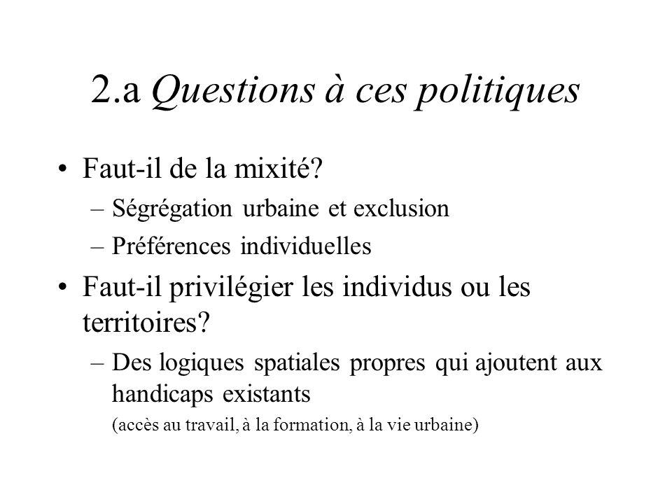 2.a Questions à ces politiques Faut-il de la mixité? –Ségrégation urbaine et exclusion –Préférences individuelles Faut-il privilégier les individus ou