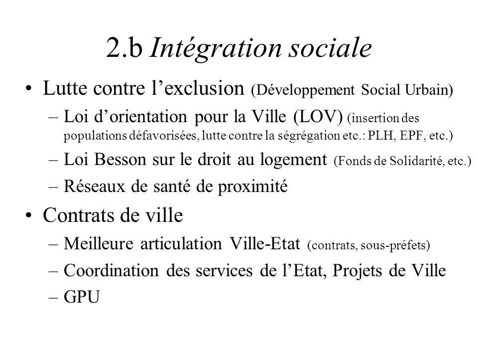 2.b Intégration sociale Lutte contre lexclusion (Développement Social Urbain) –Loi dorientation pour la Ville (LOV) (insertion des populations défavor