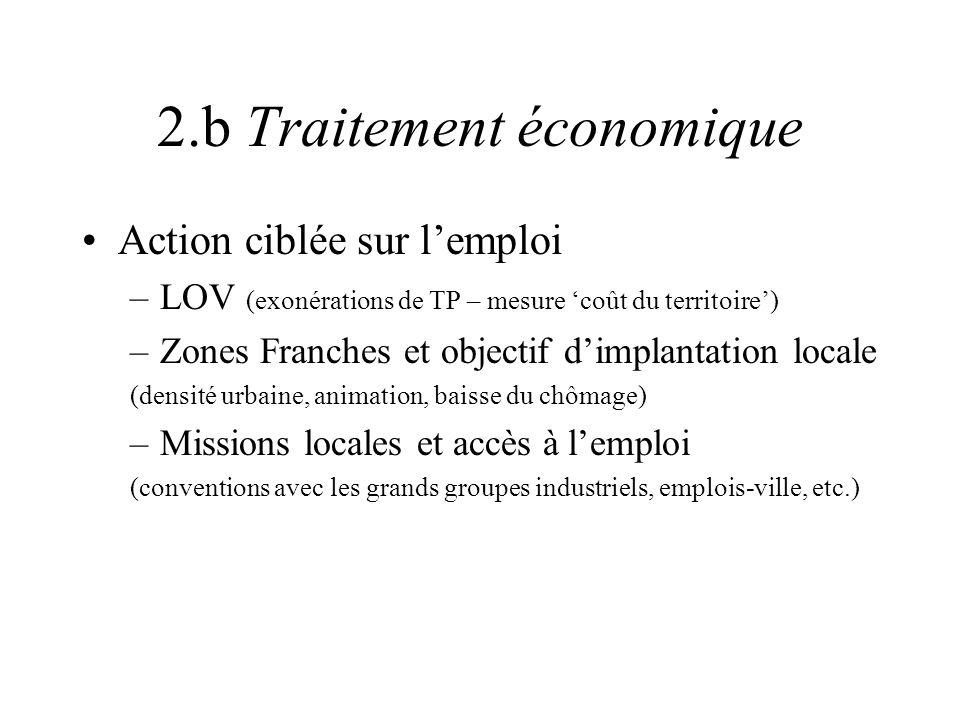 2.b Traitement économique Action ciblée sur lemploi –LOV (exonérations de TP – mesure coût du territoire) –Zones Franches et objectif dimplantation lo