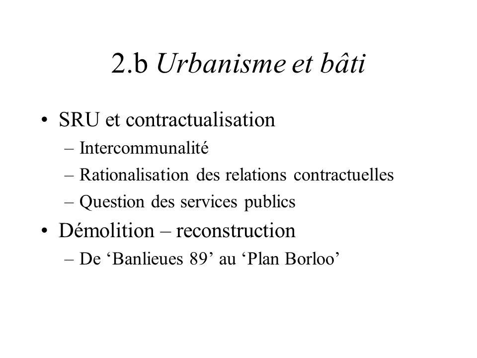 2.b Urbanisme et bâti SRU et contractualisation –Intercommunalité –Rationalisation des relations contractuelles –Question des services publics Démolit