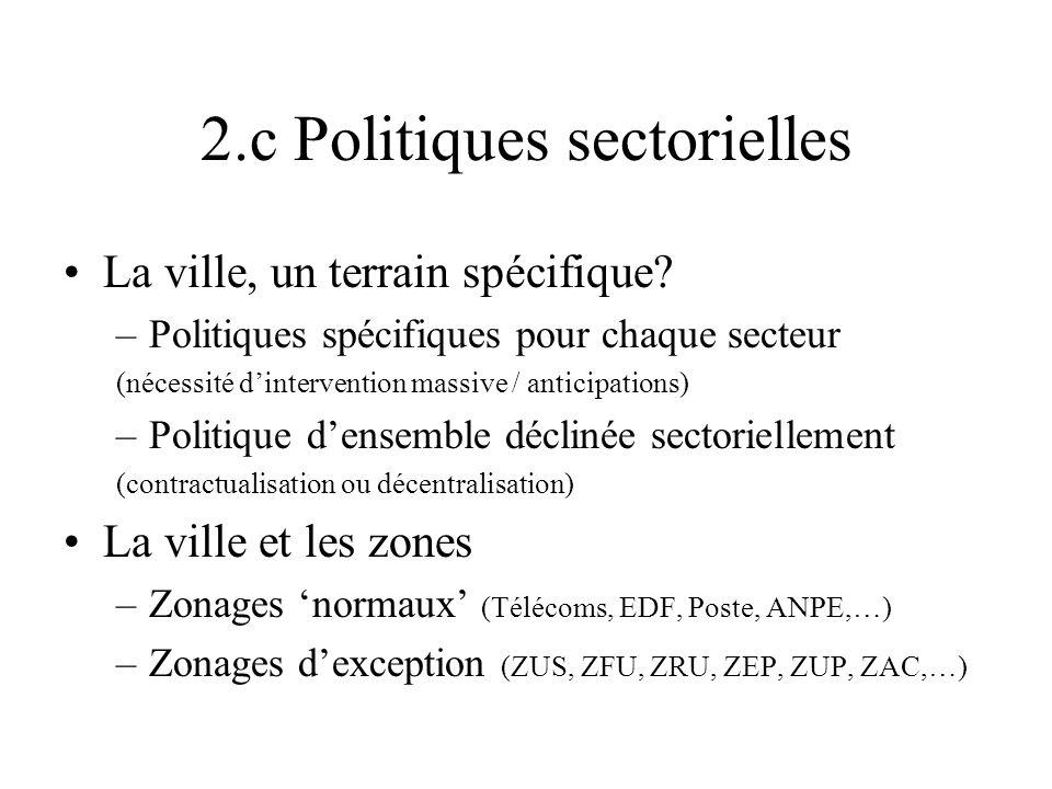 2.c Politiques sectorielles La ville, un terrain spécifique? –Politiques spécifiques pour chaque secteur (nécessité dintervention massive / anticipati