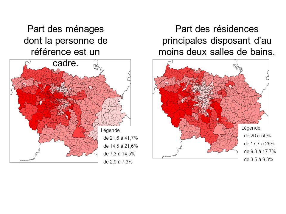 Part des résidences principales disposant dau moins deux salles de bains. Légende de 26 à 50% de 17.7 à 26% de 9.3 à 17.7% de 3.5 à 9.3% Légende de 21