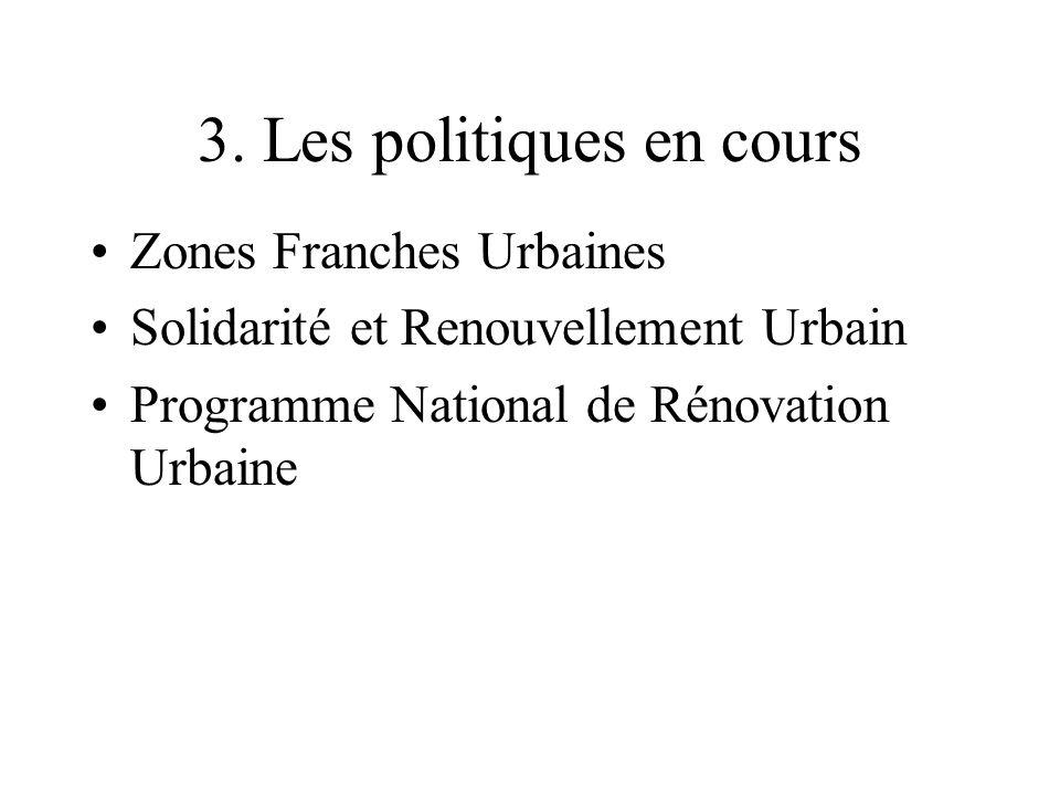 3. Les politiques en cours Zones Franches Urbaines Solidarité et Renouvellement Urbain Programme National de Rénovation Urbaine