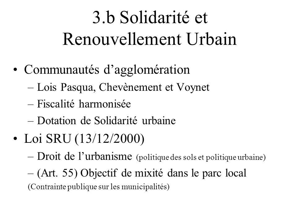 3.b Solidarité et Renouvellement Urbain Communautés dagglomération –Lois Pasqua, Chevènement et Voynet –Fiscalité harmonisée –Dotation de Solidarité u