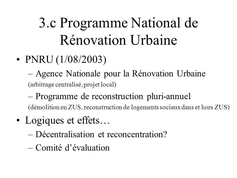 3.c Programme National de Rénovation Urbaine PNRU (1/08/2003) –Agence Nationale pour la Rénovation Urbaine (arbitrage centralisé, projet local) –Progr