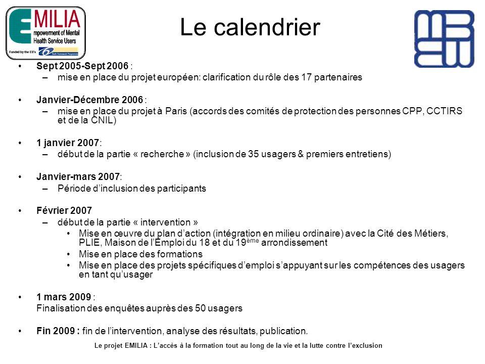 Le calendrier Sept 2005-Sept 2006 : –mise en place du projet européen: clarification du rôle des 17 partenaires Janvier-Décembre 2006 : –mise en place