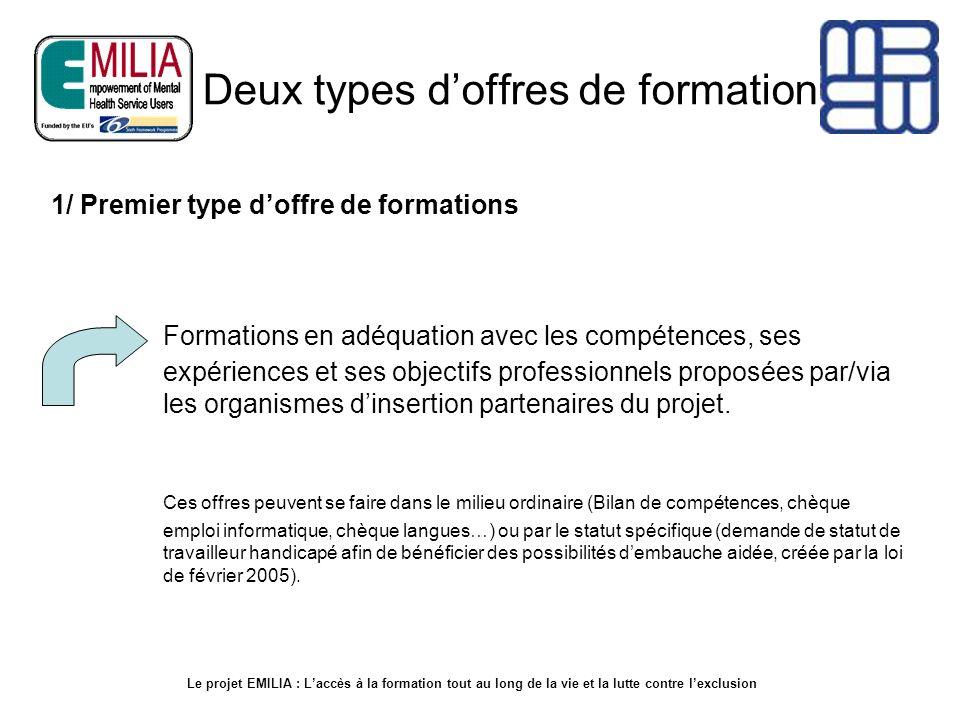 Deux types doffres de formation Formations en adéquation avec les compétences, ses expériences et ses objectifs professionnels proposées par/via les o