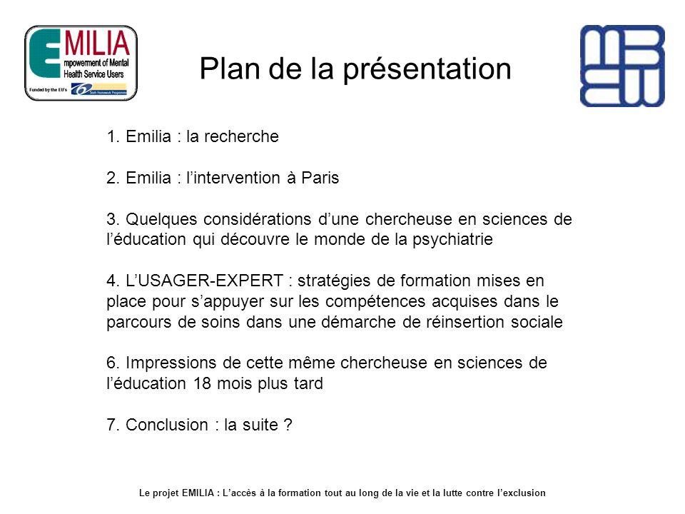 Que signifie lacronyme EMILIA Le projet EMILIA est soutenu par la Commission européenne (6ème programme cadre R et D) Empowerment of Mental Illness service users through Life-long learning Integration and Action.