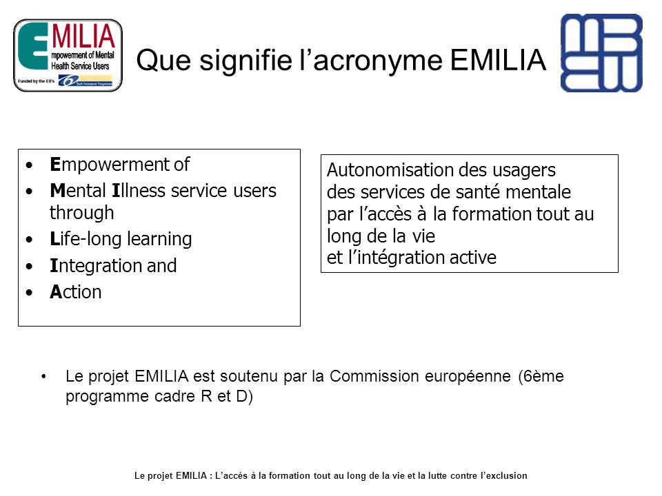 Que signifie lacronyme EMILIA Le projet EMILIA est soutenu par la Commission européenne (6ème programme cadre R et D) Empowerment of Mental Illness se