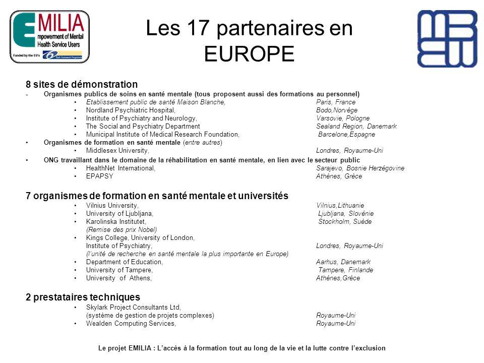 Les 17 partenaires en EUROPE 8 sites de démonstration - Organismes publics de soins en santé mentale (tous proposent aussi des formations au personnel