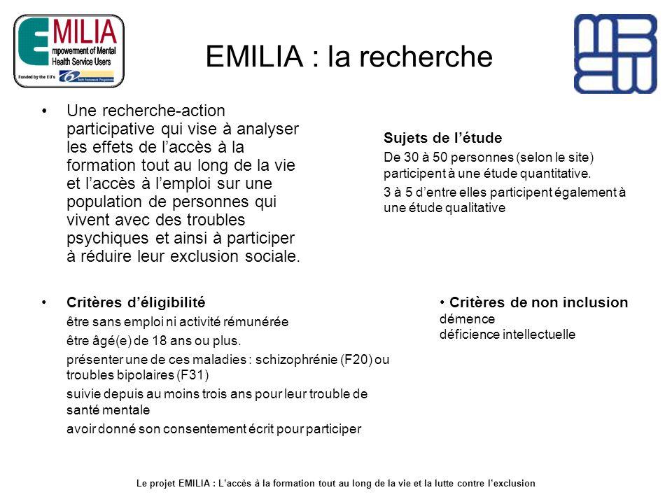 EMILIA : la recherche Une recherche-action participative qui vise à analyser les effets de laccès à la formation tout au long de la vie et laccès à le