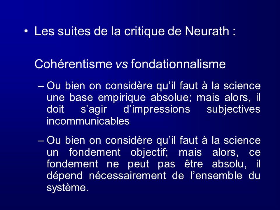Les suites de la critique de Neurath : Cohérentisme vs fondationnalisme –Ou bien on considère quil faut à la science une base empirique absolue; mais