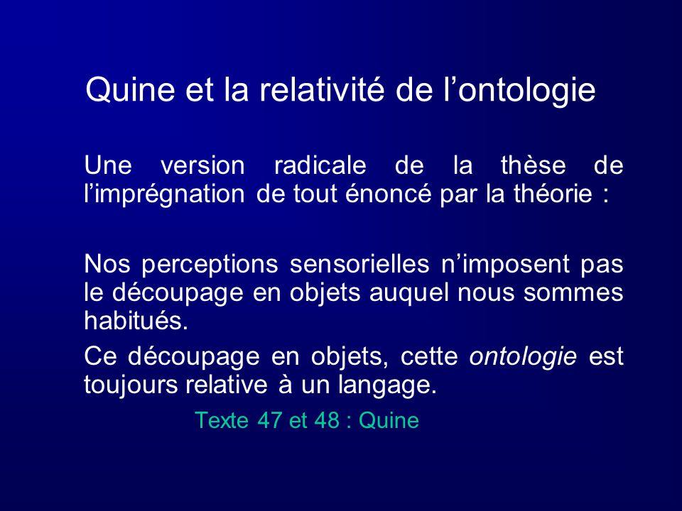 Quine et la relativité de lontologie Une version radicale de la thèse de limprégnation de tout énoncé par la théorie : Nos perceptions sensorielles ni