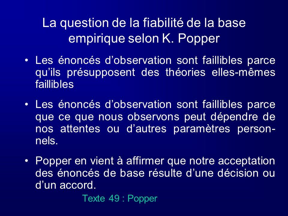 La question de la fiabilité de la base empirique selon K. Popper Les énoncés dobservation sont faillibles parce quils présupposent des théories elles-