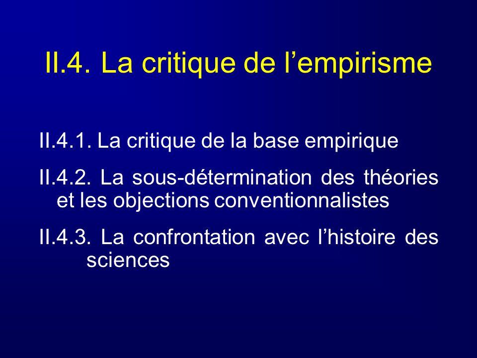 II.4. La critique de lempirisme II.4.1. La critique de la base empirique II.4.2. La sous-détermination des théories et les objections conventionnalist