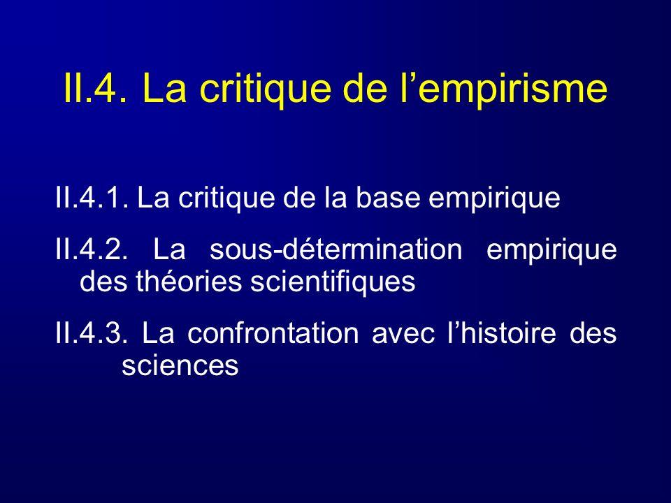 II.4. La critique de lempirisme II.4.1. La critique de la base empirique II.4.2. La sous-détermination empirique des théories scientifiques II.4.3. La
