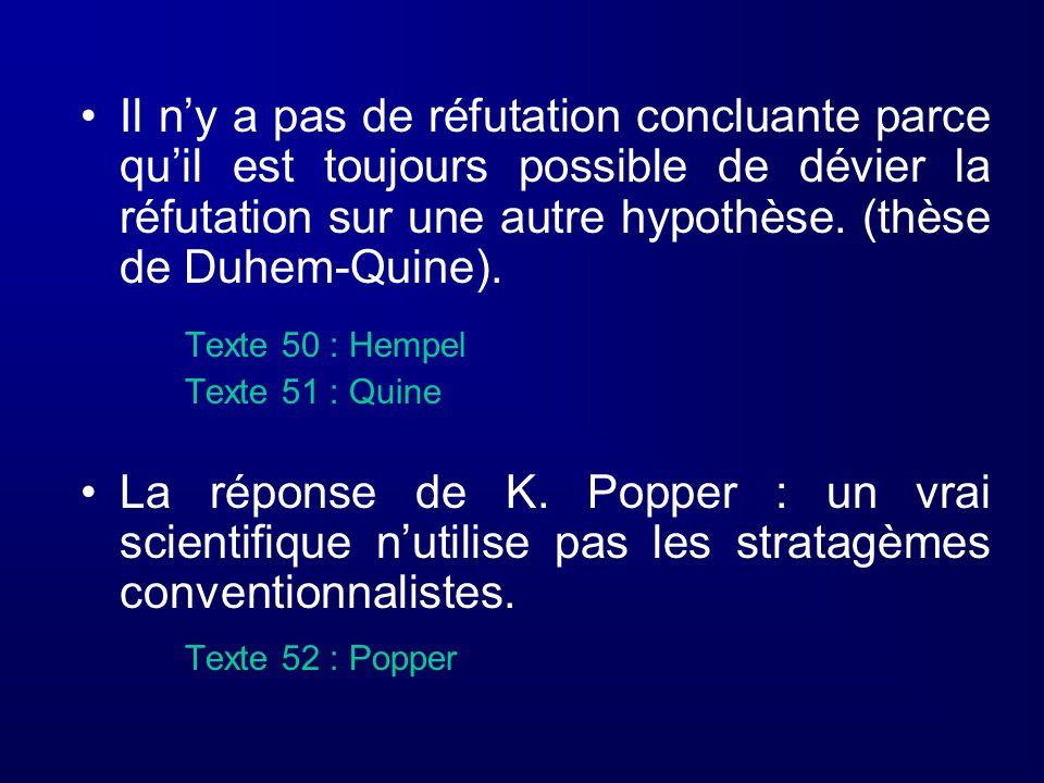 Texte 50 : Hempel Texte 51 : Quine La réponse de K. Popper : un vrai scientifique nutilise pas les stratagèmes conventionnalistes. Texte 52 : Popper