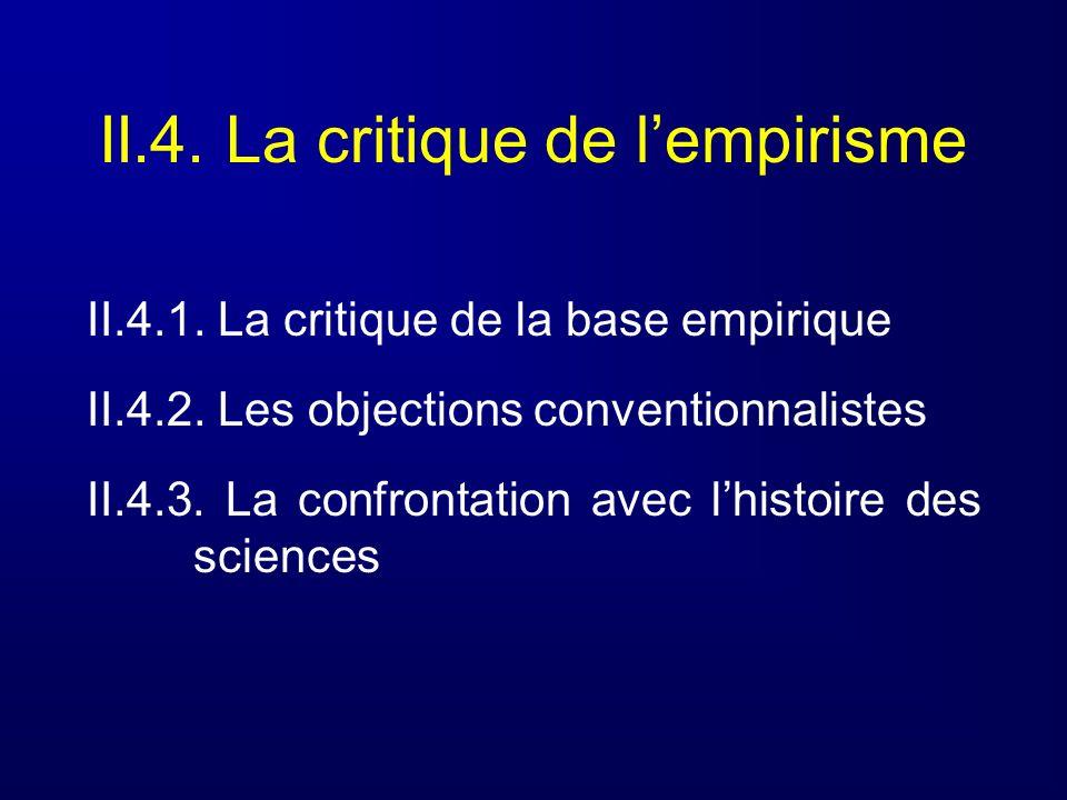 II.4. La critique de lempirisme II.4.1. La critique de la base empirique II.4.2. Les objections conventionnalistes II.4.3. La confrontation avec lhist