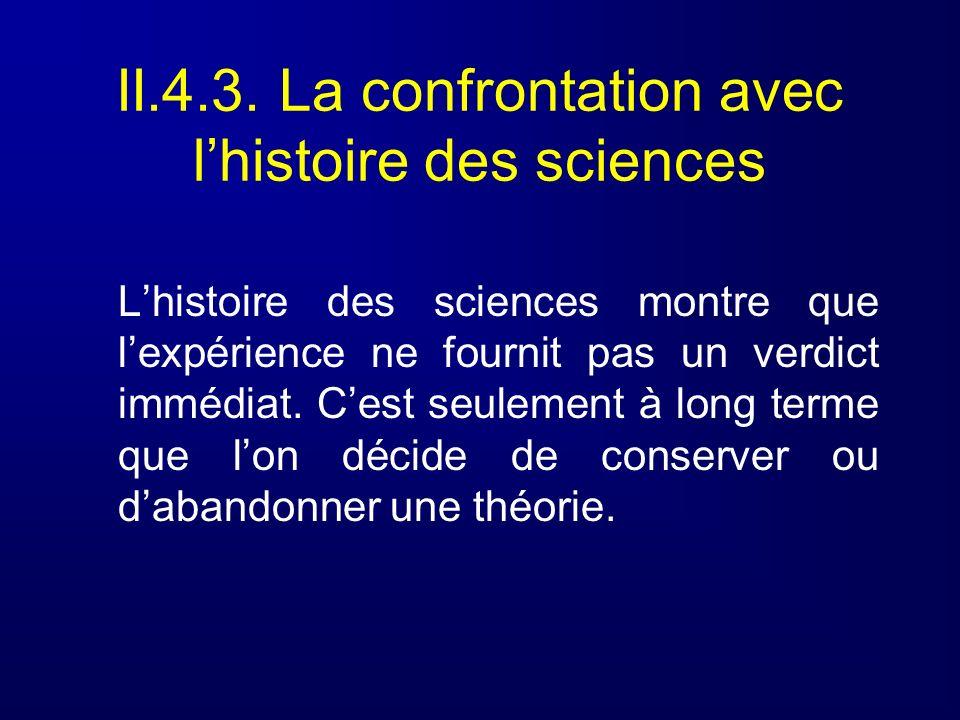 Lhistoire des sciences montre que lexpérience ne fournit pas un verdict immédiat. Cest seulement à long terme que lon décide de conserver ou dabandonn