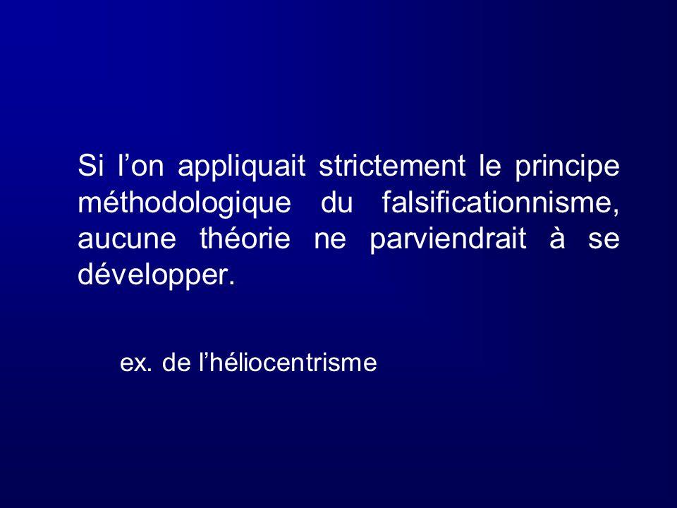 Si lon appliquait strictement le principe méthodologique du falsificationnisme, aucune théorie ne parviendrait à se développer. ex. de lhéliocentrisme