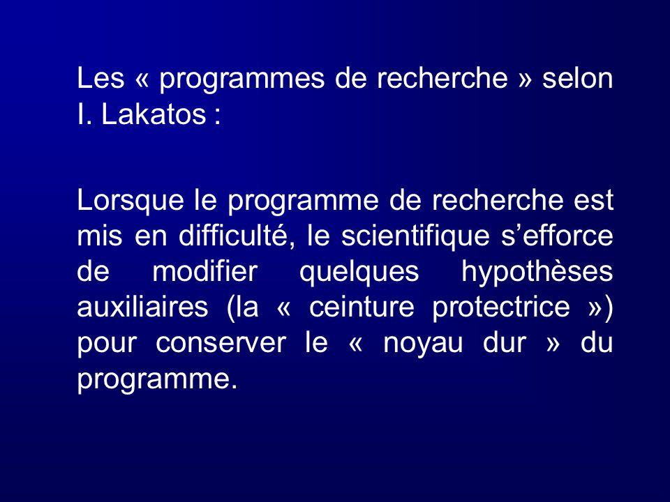 Les « programmes de recherche » selon I. Lakatos : Lorsque le programme de recherche est mis en difficulté, le scientifique sefforce de modifier quelq