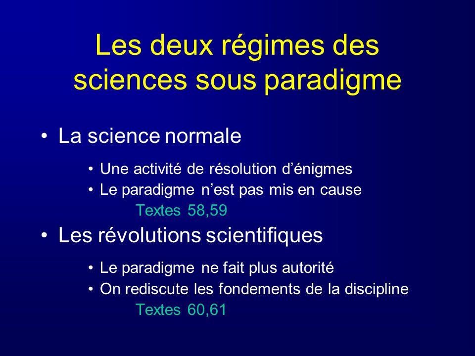 Les deux régimes des sciences sous paradigme La science normale Une activité de résolution dénigmes Le paradigme nest pas mis en cause Textes 58,59 Le