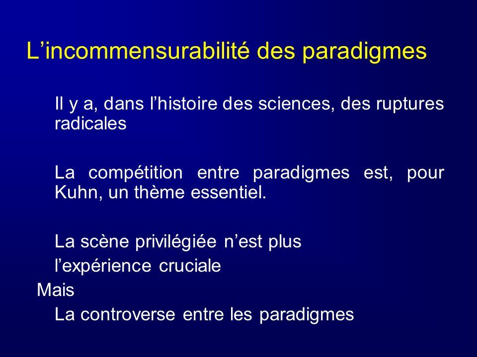 Lincommensurabilité des paradigmes Il y a, dans lhistoire des sciences, des ruptures radicales La compétition entre paradigmes est, pour Kuhn, un thèm