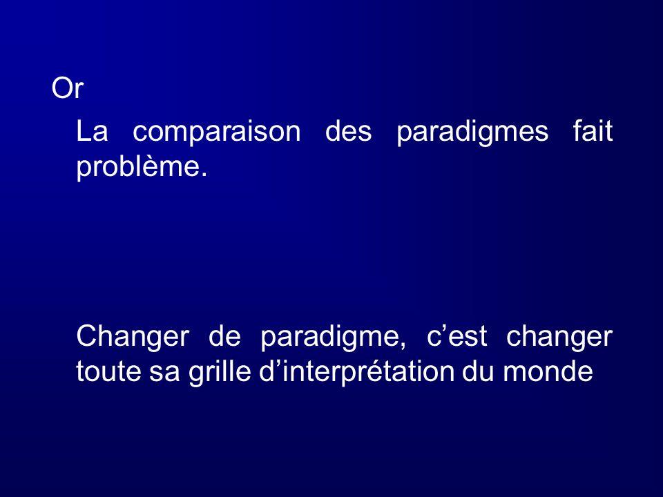 Or La comparaison des paradigmes fait problème. Changer de paradigme, cest changer toute sa grille dinterprétation du monde