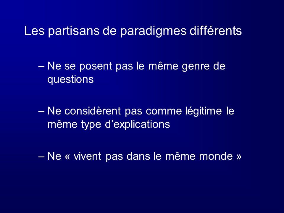 Les partisans de paradigmes différents –Ne se posent pas le même genre de questions –Ne considèrent pas comme légitime le même type dexplications –Ne