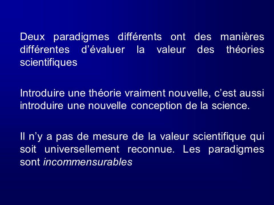 Deux paradigmes différents ont des manières différentes dévaluer la valeur des théories scientifiques Introduire une théorie vraiment nouvelle, cest a
