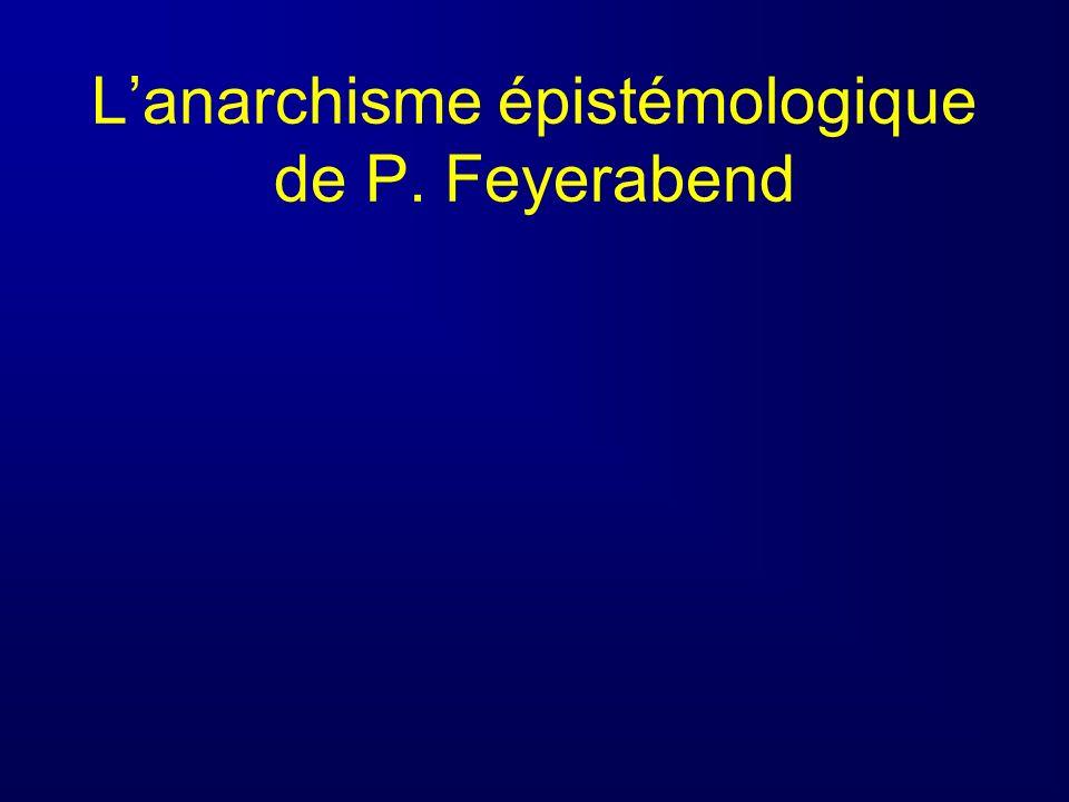 Lanarchisme épistémologique de P. Feyerabend