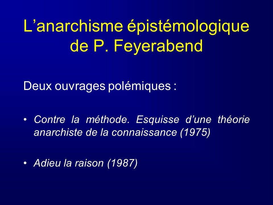 Lanarchisme épistémologique de P. Feyerabend Deux ouvrages polémiques : Contre la méthode. Esquisse dune théorie anarchiste de la connaissance (1975)