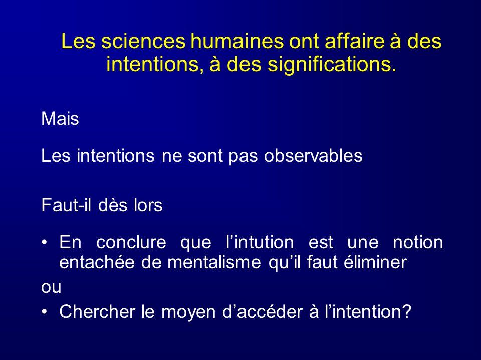 Les sciences humaines ont affaire à des intentions, à des significations. Mais Les intentions ne sont pas observables Faut-il dès lors En conclure que