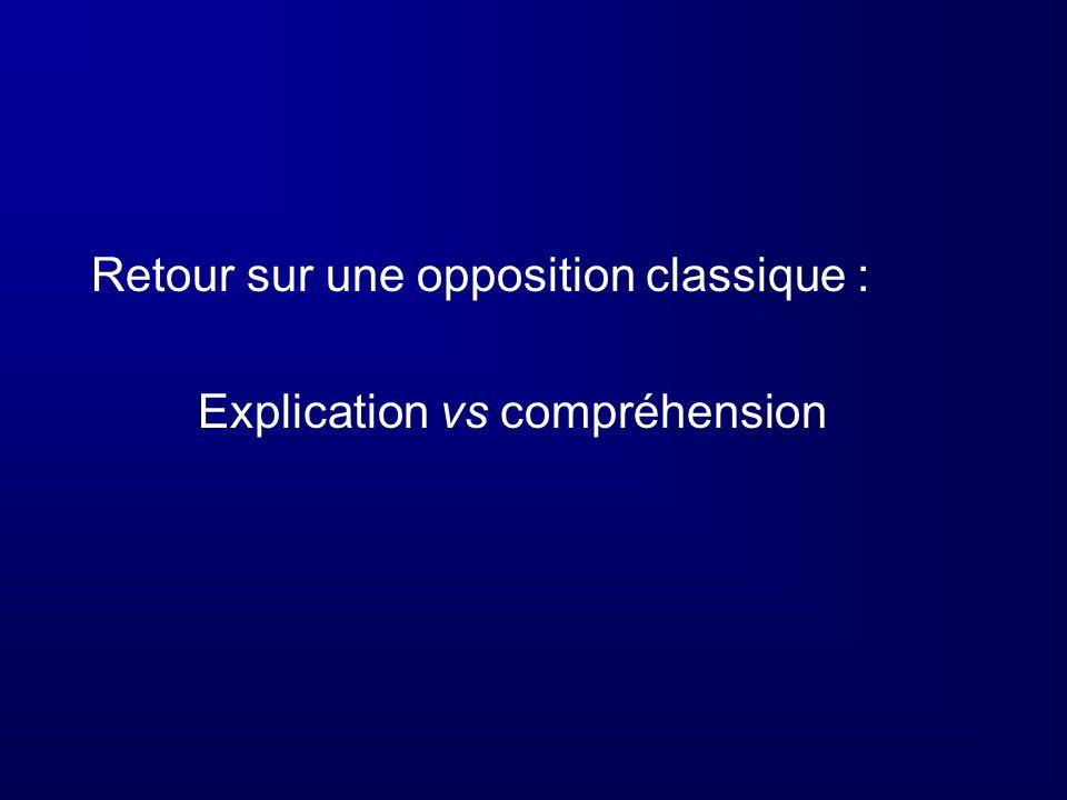 Retour sur une opposition classique : Explication vs compréhension