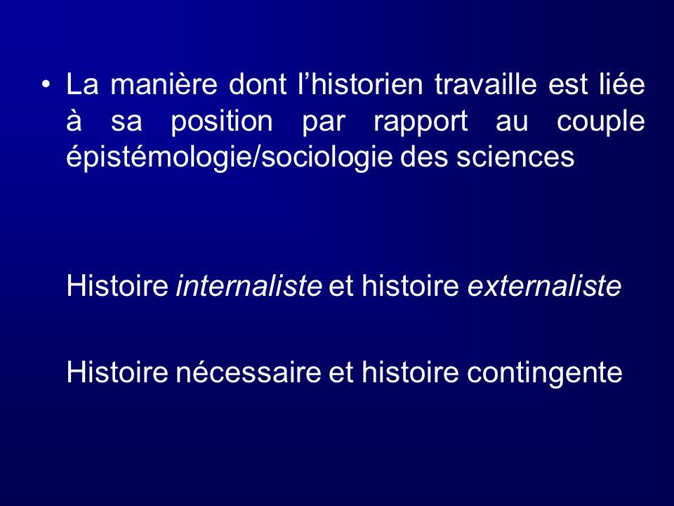 La manière dont lhistorien travaille est liée à sa position par rapport au couple épistémologie/sociologie des sciences Histoire internaliste et histo